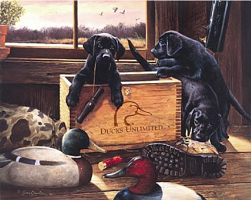 Black Lab Puppies Painting Art By Larry Chandler