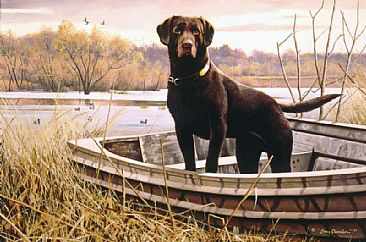 Waiting for the Master's Command - Chocolate Labrador Retriever in duck boat by Larry Chandler