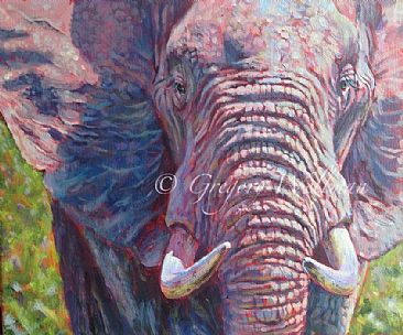 Old Bull Up Close - African male elephant by Gregory Wellman