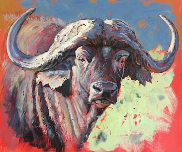 Cape Buffalo - Demonstration painting by Gregory Wellman