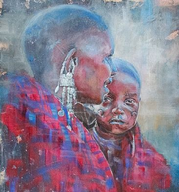 Maasai Mother and Child -  by Gregory Wellman