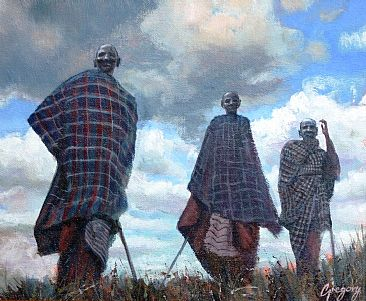 Ramasani Maasai I - Maasai seniors by Gregory Wellman