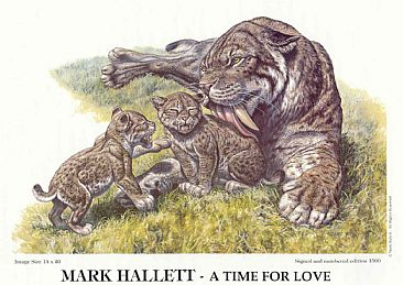 A Time for Love - Sabertooth cat and cubs by Mark Hallett