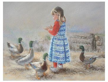 """Quiet Afternoon"" - Girl feeding ducks by Josephine Smith"