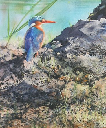 Jewel in the Mud - Malachite Kingfisher by Linda Sutton