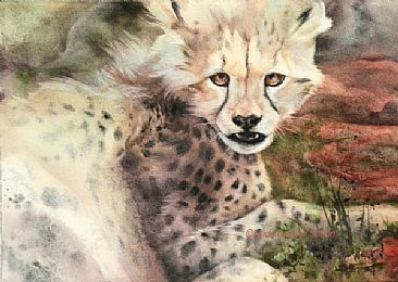 Dinner Attitude - Cheetah cub by Linda Sutton