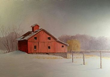 Winter Barn - Barn and Landscapes by Raymond Easton