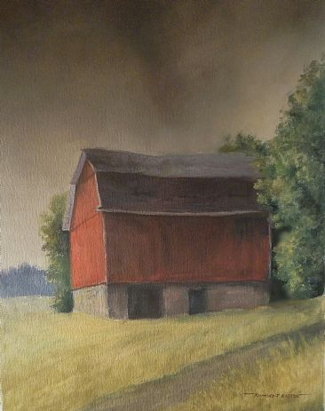 Inclement weather - Barn by Raymond Easton