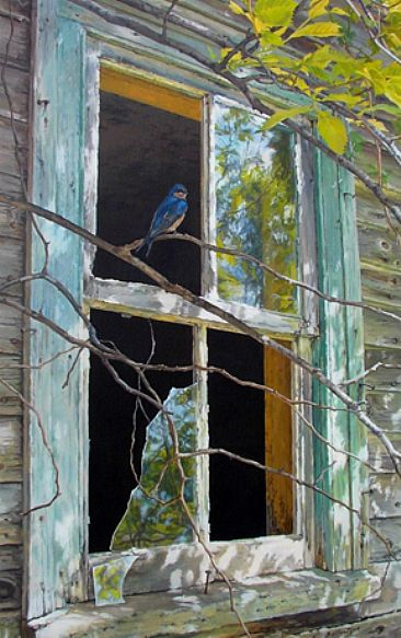 Abandoned Farm House and Barn Swallow - Painting Art by ...