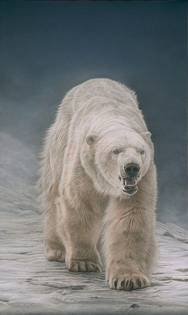 On Thin Ice - Polar Bear - Original Acrylic Painting has been sold. Limited edition giclée watercolour paper print of On Thin Ice - Polar Bear  is available for $299.00 framed. by Michael Pape