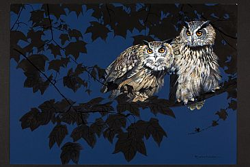 Midnight - Eagle Owls by Pollyanna Pickering