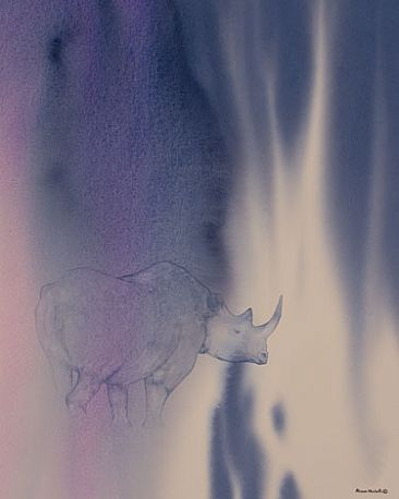 Darkness - Black Rhinoceros by Alison Nicholls
