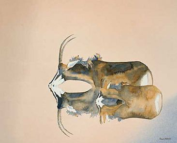 Sable Drinking - Sable Antelope, mother & calf by Alison Nicholls