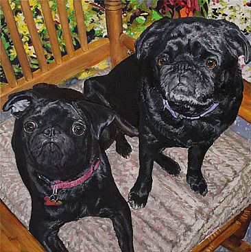 Rock'in in the Rocking Chair - Pugs by Karin Snoots