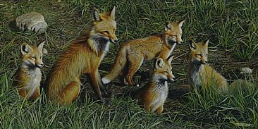 The Fox Den - Red Fox Mother & Kits by Edward Spera