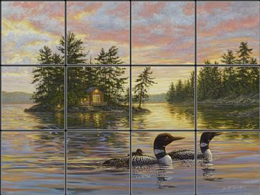 Tranquil Evening - loon family by Beth Hoselton