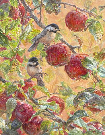 Autumn Morning - chickadees and apples by Beth Hoselton