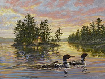 Tranquil Evening - loon family (sold) by Beth Hoselton