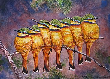 Seven Little Bee-Eaters - African Wildlife - Commission by Peter Blackwell