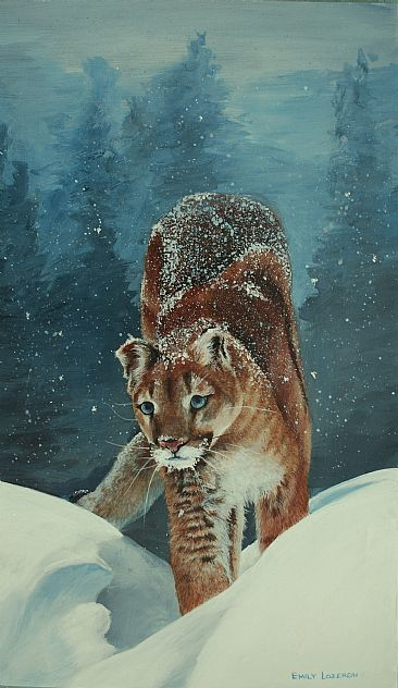 cougar in the snow - cougar by Emily Lozeron