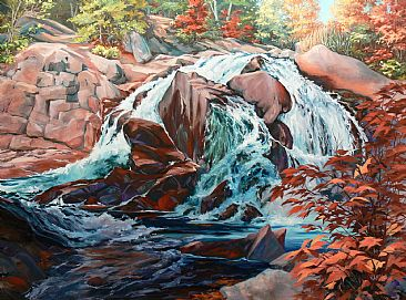 Autumn Amber - Waterfall by RoseMarie Condon