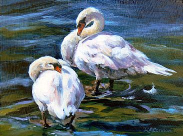 Preening Swans - A pair of swans by RoseMarie Condon