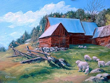 Spring Morning/Madawaska - Barnyard in with sheep by RoseMarie Condon