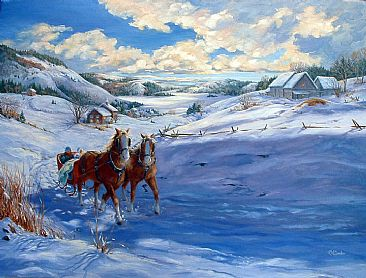 Sunday Sleigh Ride - Rural landscape with horse drawn sleigh by RoseMarie Condon
