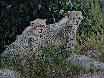 Double Delight - Cheetah Cubs by Theresa Eichler