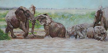 Mud Joy - elephants having a mud bath in Amboseli by Theresa Eichler