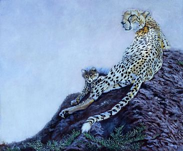 Mum and Me (2013 update) - Cheetah mum and cub on termite mound by Theresa Eichler