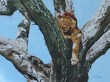 Sentinel (Sold) - African Lion in Tree by Theresa Eichler