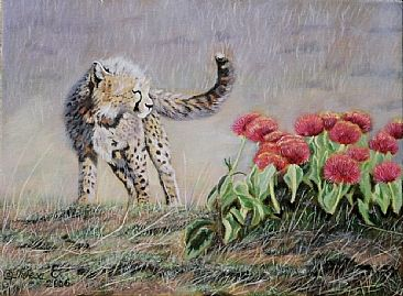 Goodness Gracious - Great Balls of Fire!! - cheetah cub with fireball lilies at the Masai Mara- Kenya by Theresa Eichler
