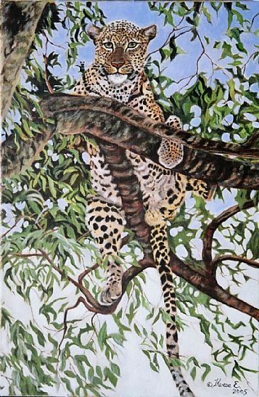 Hanging Out - Leopard in tree by Theresa Eichler
