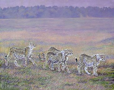Most Precious Gold - cheetah family at dusk - Masai Mara by Theresa Eichler