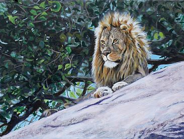 Regal Rogue (study) - lion on rock with fig tree behind by Theresa Eichler