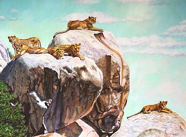 Sisterhood of the Simba Kopje (reworked in 2010) - lioness grouping in Serengeti - Simba Kopje by Theresa Eichler