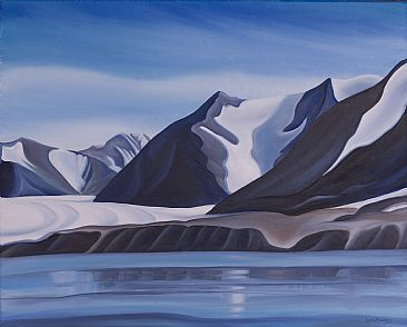 arctic mountains and glaciers painting nature art by linda dawn