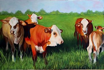 Fabulous Five - Cows by Patsy Lindamood