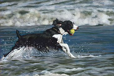 Seaside Romp - Dog by Patsy Lindamood