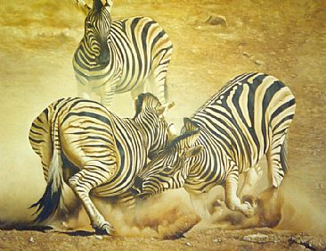 The Clash of the Titans - Zebra Stallions by Dolfi Stoki