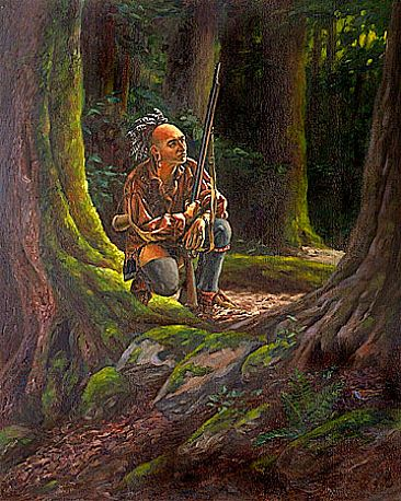 Two Woodland Hunters - Native American Indians by Mary Louise Holt