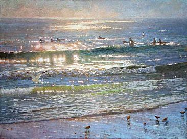The Glistening Playground - Dolphins, Surfers by David Gallup