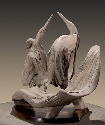 Matters of the Heart - Heron Pair by Terry Woodall