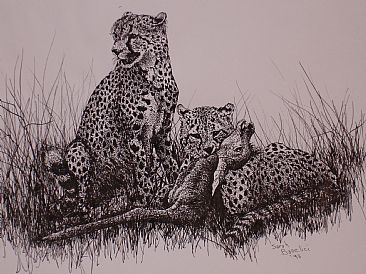 The Cheeta Feast - Cheetas having a good day by Sarah Baselici