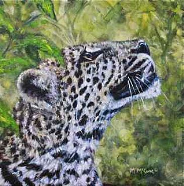 Birdwatching - leopard in the bush by Michelle McCune