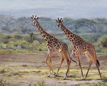 A Walk in the Park - Maasai giraffes by Michelle McCune
