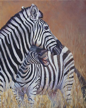 Just a Nibble - Burchell's Zebras - South Africa by Michelle McCune