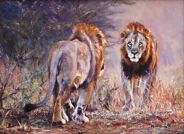 Mirror, Mirror - Male lions by Michelle McCune