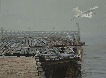 A Thick of Fog - Old Dock and Great White by Suzie Seerey-Lester